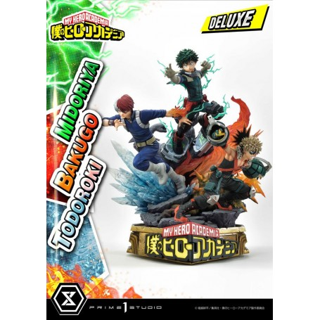 My Hero Academia statuette Midoriya, Bakugo & Todoroki Deluxe Bonus Version 69 cm