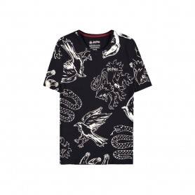 Harry Potter T-Shirt Heraldic Animals WB AOP (L)